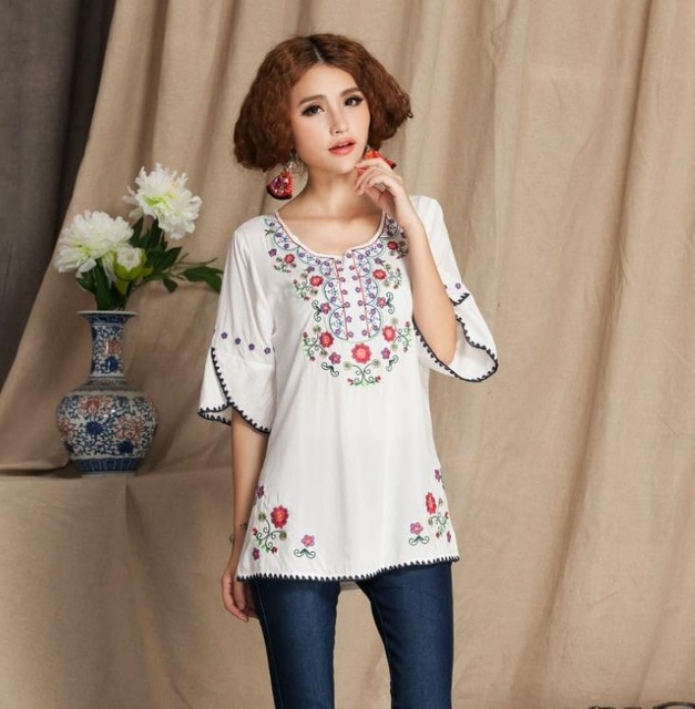 Womens Girls Mexican Embroidered Peasant Tops Mexican Bohemian