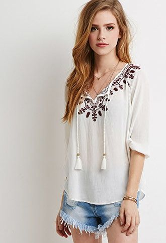 Floral-Embroidered Peasant Top | Forever 21 | #thelatest | forever