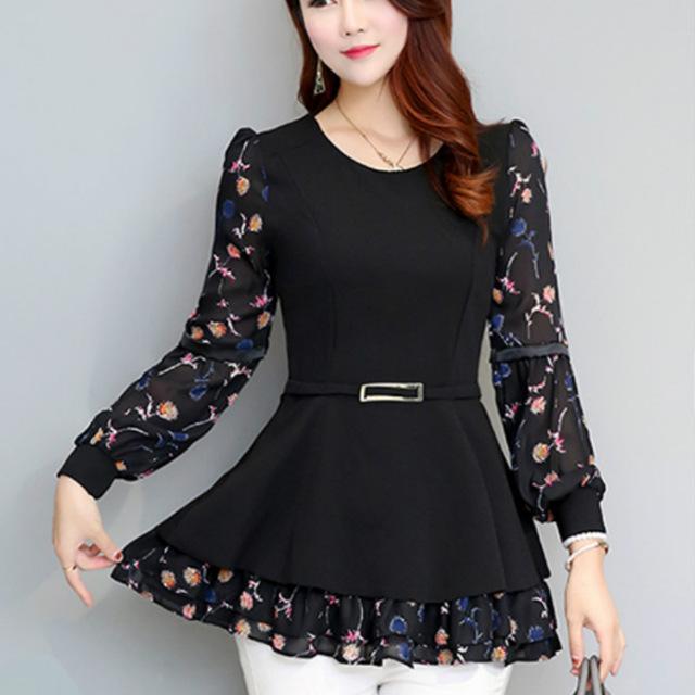 2017 Spring long sleeve O neck ruffles shirts women peplum tops