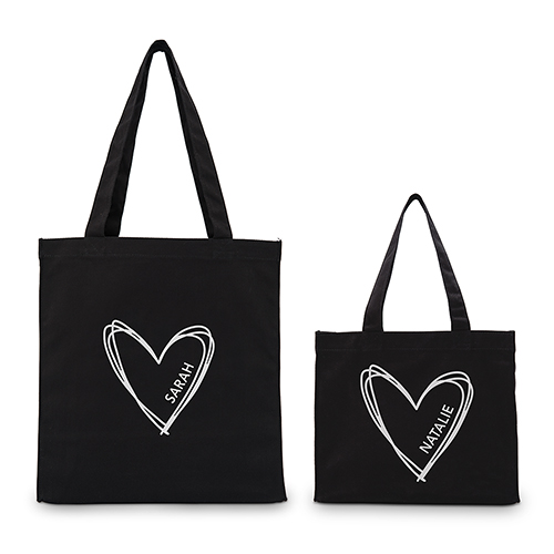 Personalized Heart Black Canvas Tote Bag - Personalized Tote Bags