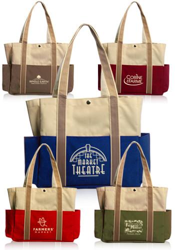 Personalized Dual Color Shoulder Tote Bags   TOT29 - DiscountMugs