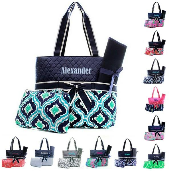 Personalized Quilted 3pc Diaper Bag - 100+ cute stylish patterns
