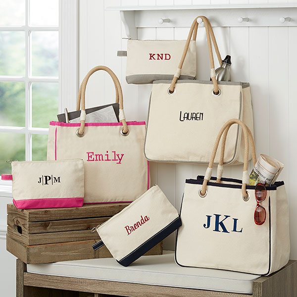Custom Embroidered Canvas Tote Bags With Rope Handles