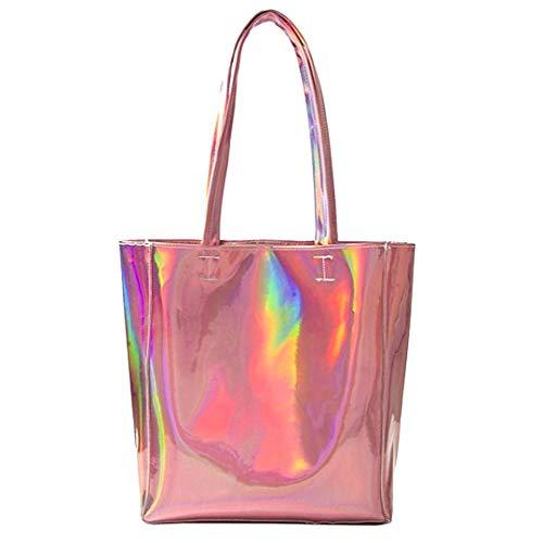 Amazon.com: Mily Hologram Tote Bag Laser PU Shoulder Bag for Women