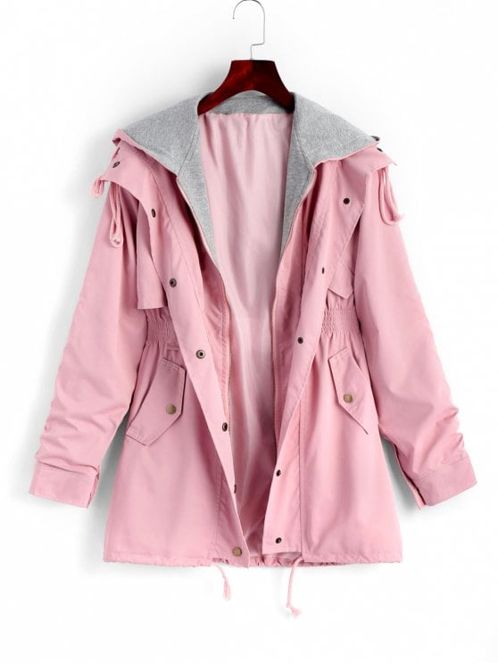 39% OFF] 2019 Zip Up Hooded Coat With Pockets In PINK M | ZAFUL