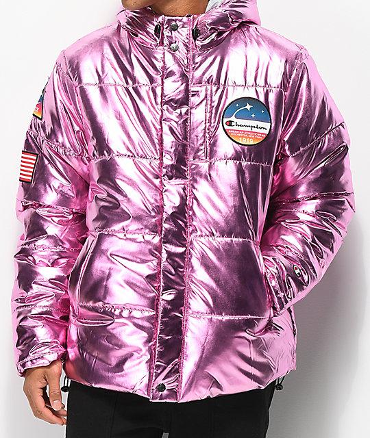 Champion Metallic Pink Puffer Jacket | Zumiez