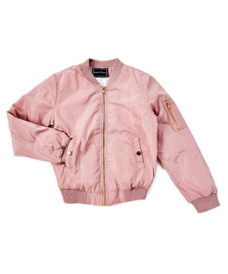 Cuties Fashions Blush Pink Bomber Jacket - Girls | Zulily