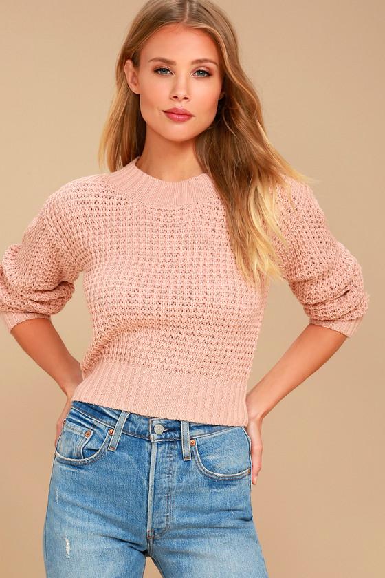 Cute Sweater - Blush Pink Sweater - Cropped Sweater