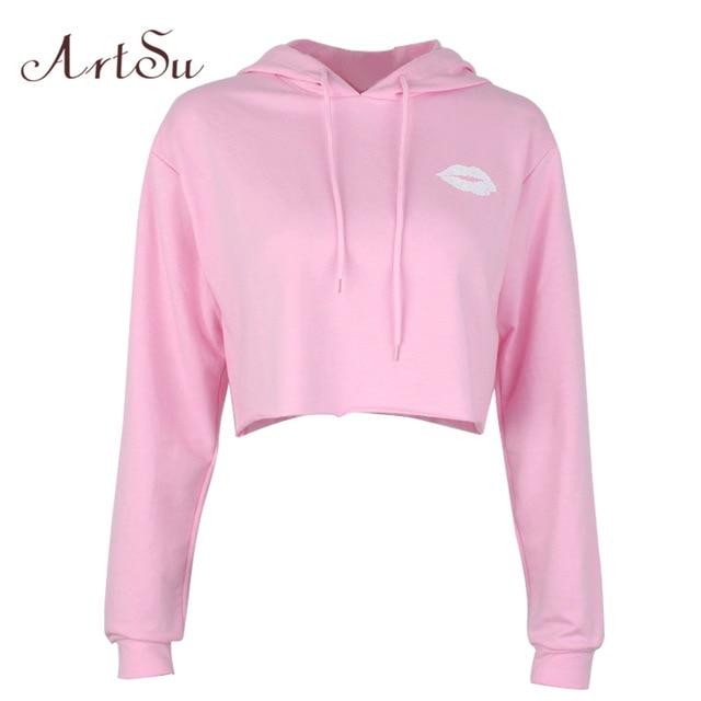 ArtSu Lips Print Cute Hoodie Long Sleeve Hooded Sweatshirt Cropped