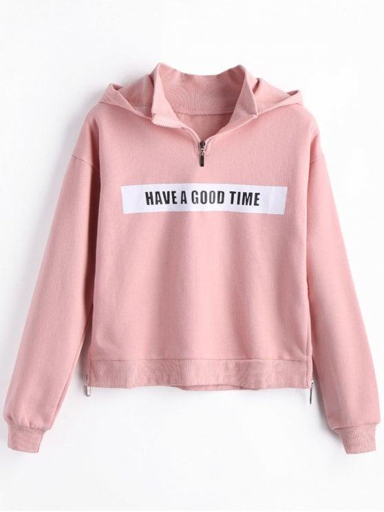 2019 Fleece Side Zippers Graphic Hoodie In PINK L | ZAFUL