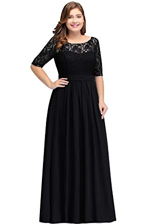 Women Plus Size Chiffon Evening Dresses Long Prom Bridesmaid Gown at