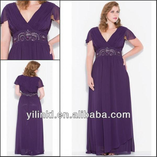 Purple Color V neck Short Sleeve Super Plus Size Bridesmaid Dresses