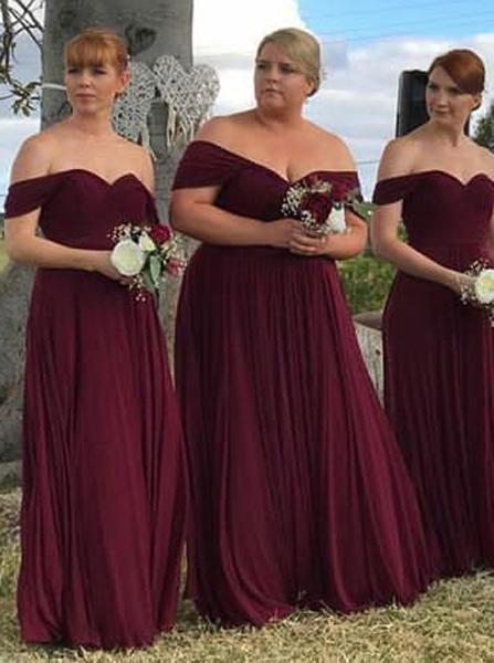 Burgundy Plus Size Bridesmaid Dress,Chiffon Off the Shoulder