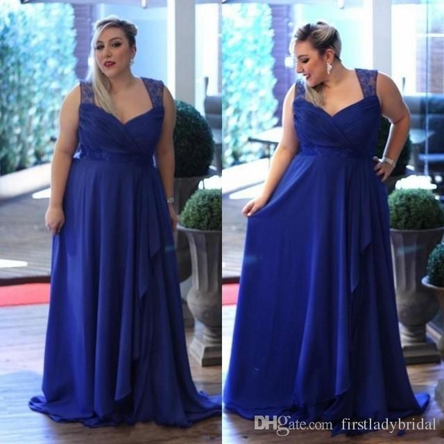 2017 Royal Blue Plus Size Bridesmaid Dresses Chiffon A Line Long