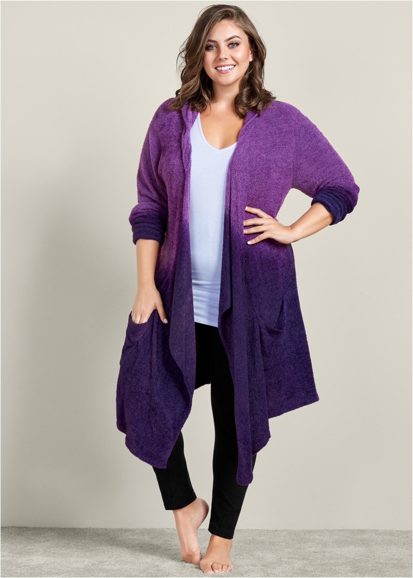 Plus Size COZY OMBRE LOUNGE CARDIGAN in Purple Multi   VENUS