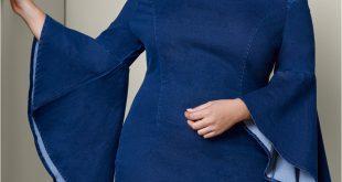 Plus Size SLEEVE DETAIL DENIM DRESS | VENUS