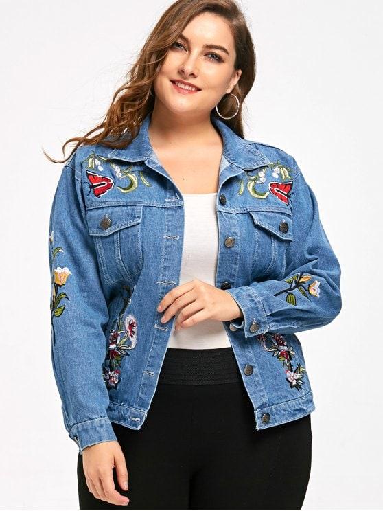 24% OFF] 2019 Embroidery Plus Size Denim Jacket In DENIM BLUE 5XL