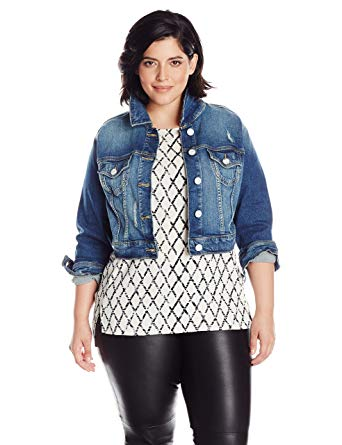 Amazon.com: SLINK Jeans Women's Plus Size Long Sleeve Cropped Denim