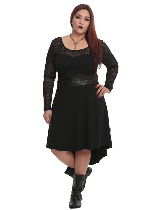 Tripp Plus Size Gothic Black Faux Leather and Lace Hi Lo Dress