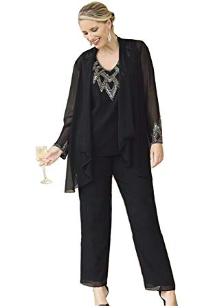 Kelaixiang Chiffon Pants Suits for Women Plus Size with Coat at