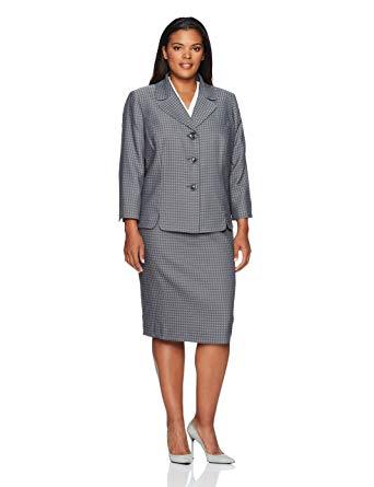 Amazon.com: Le Suit Women's Plus Size Houndstooth 3 Button Skirt