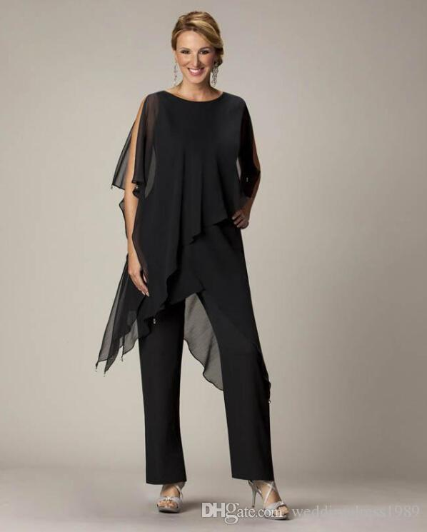 2018 Black Mother'S Pants Suit Jewel Sheath With Irregular Jacket