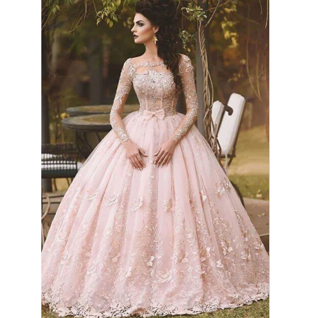 Spain Pink Appliqued Beaded Bow Long Sleeve Princess Prom Dresses