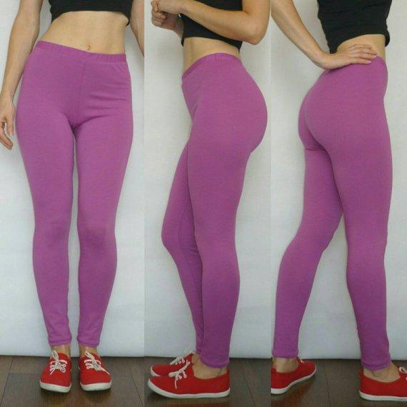 Purple Leggings High Waist Solid Color Yoga Leggings Wide   Etsy