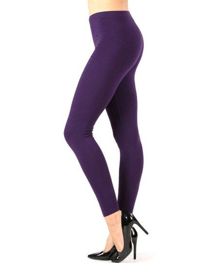 Zenana Dark Purple Leggings - Women   Zulily