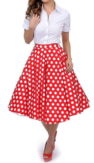 Check Out The Chicest Red Polka Dot Skirt Outfits u2013 Carey Fashion