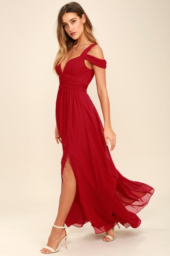 Wine Red Maxi Dress - Cocktail Dress - Bridesmaid Dress