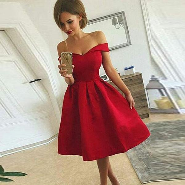 2018 Hot Sale Red Off The Shoulder Cocktail Party Dress,A Line