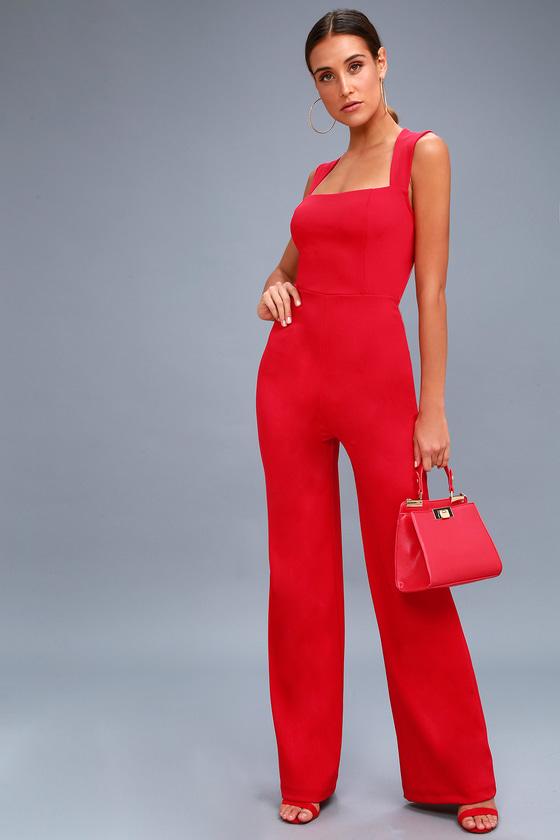 Red Jumpsuit - Sleeveless Jumpsuit - Wide Leg Jumpsuit