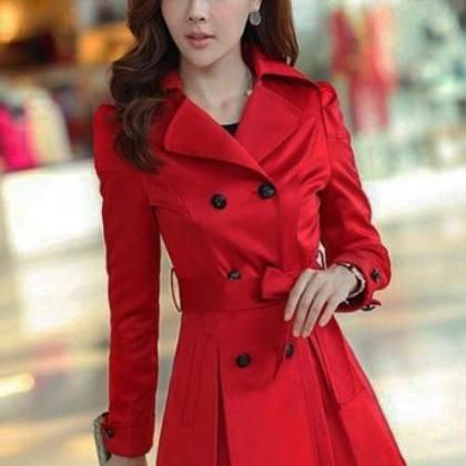 Large Size Red Trench Coats For Women Free Ship And Ready To Ship