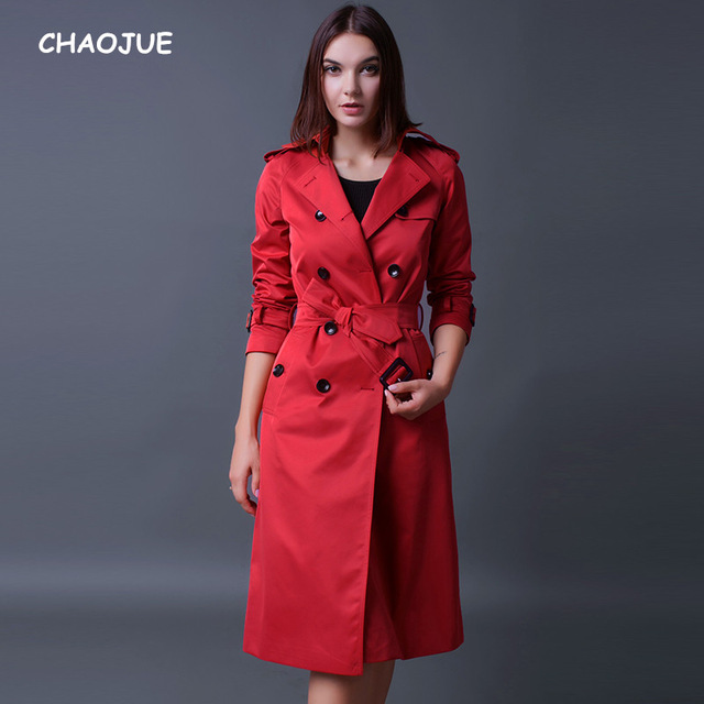 CHAOJUE Brand Trench Coat For Women 2018 Long Sleeve Double Breasted