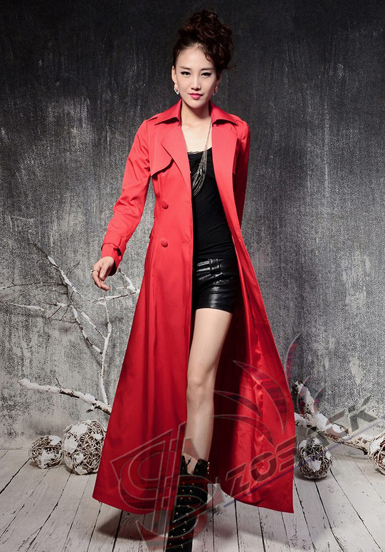 Red long trench coat jackets - Zosack