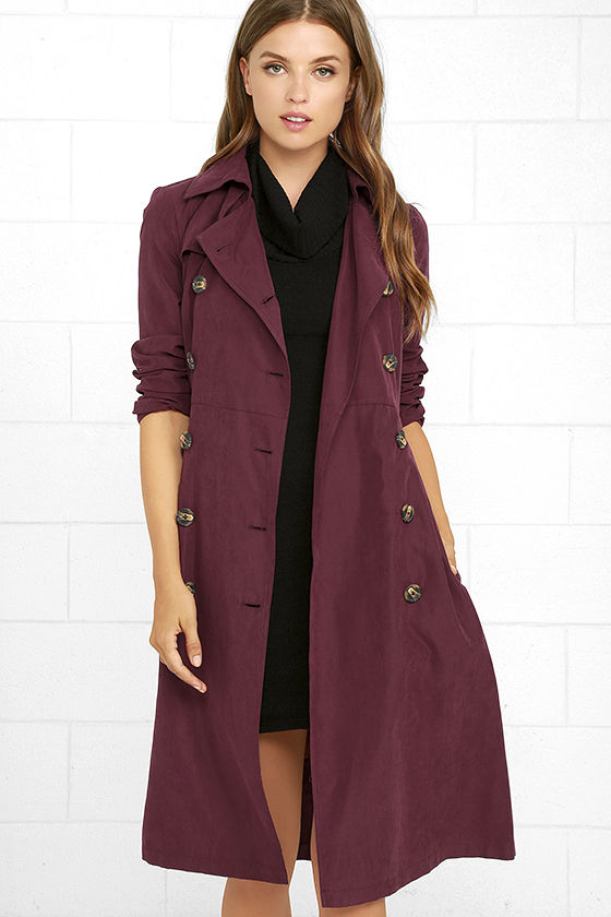 Chic Wine Red Coat - Trench Coat - Belted Coat - Longline Coat - $91.00