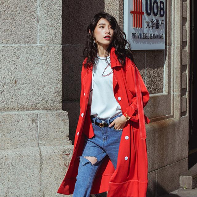 Cheerart British Style Long Trench Coat Women Red Loose Autumn Coat