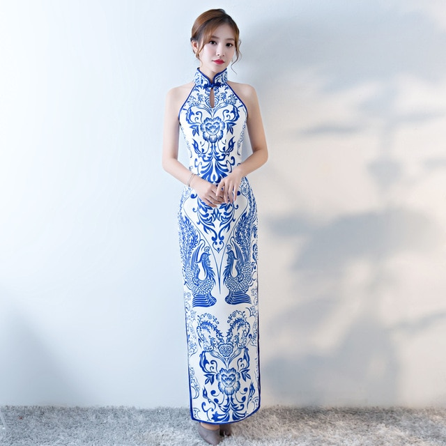 Vintage Chinese Style Cheongsam Wedding Dress Womens Sleeveless Long