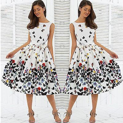 Women Vintage Retro Clothes Sleeveless Chiffon Butterfly print