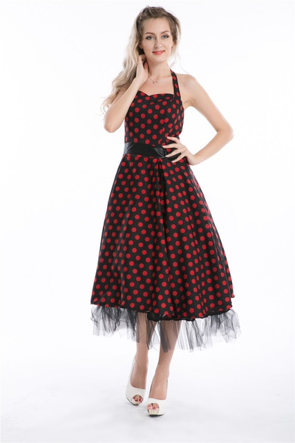 free shipping dress 50s style pin up dress retro clothes polka dots