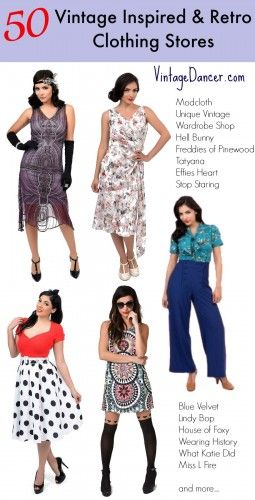 50 Vintage Inspired Clothing & Retro Clothing Stores We Love