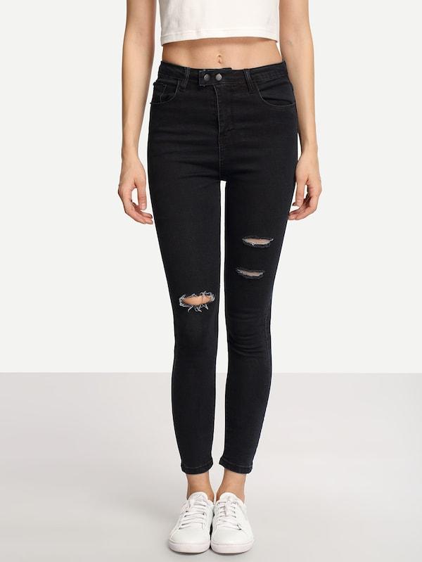 Ripped Black Skinny Jeans   SHEIN