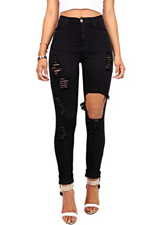 Vibrant Women's Juniors Ripped Rise Skinny Jeans at Amazon Women's