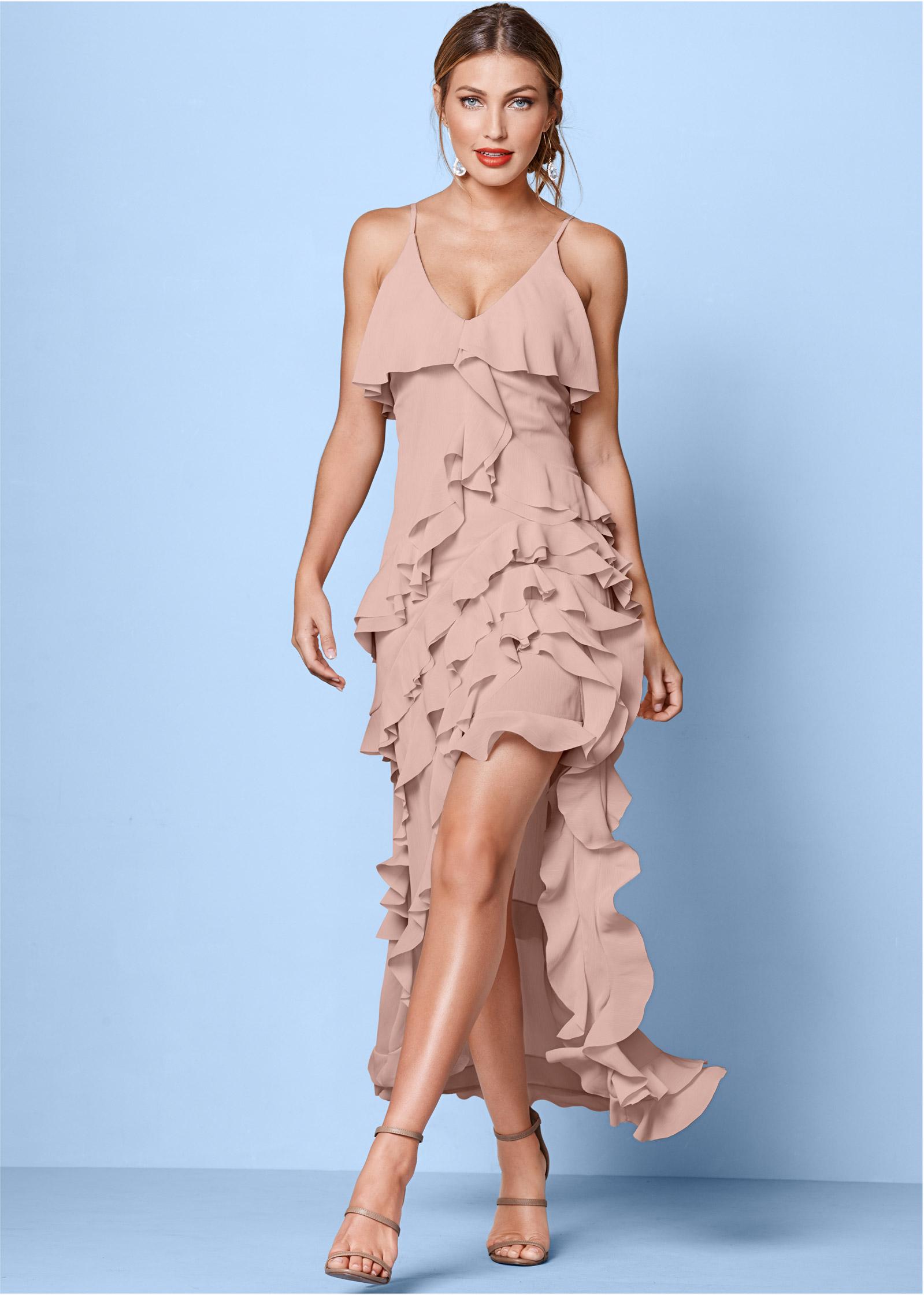 Peach RUFFLE DETAIL LONG DRESS from VENUS