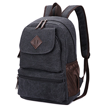 Women's / Unisex Bags Canvas School Bag Solid Colored Black / Brown