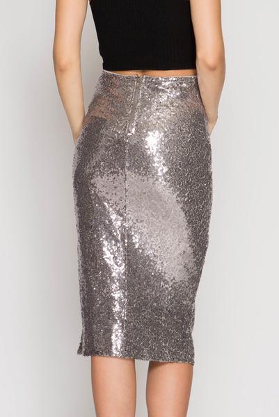 Sequin Midi Pencil Skirt - Silver u2013 Pippa & Pearl
