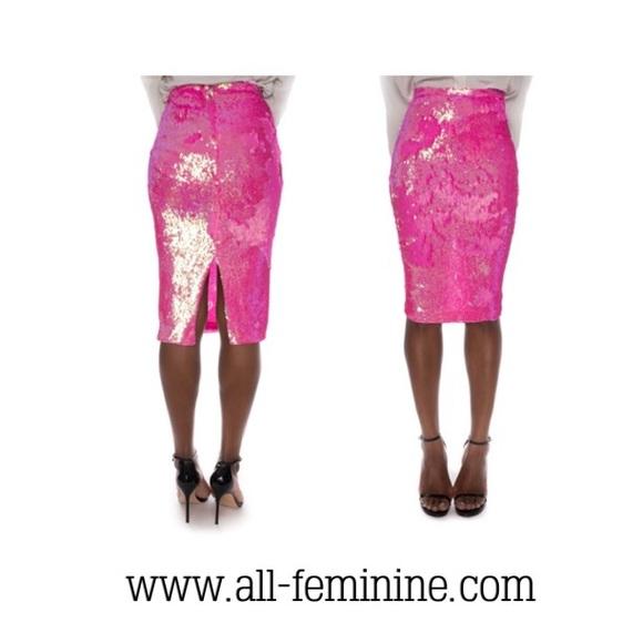 All Feminine Skirts | Pink Sequin Pencil Skirt | Poshmark