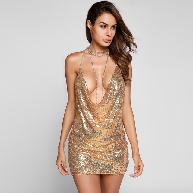 Deep V neck Backless Sexy Club Dress Sequined Bodycon Club Party