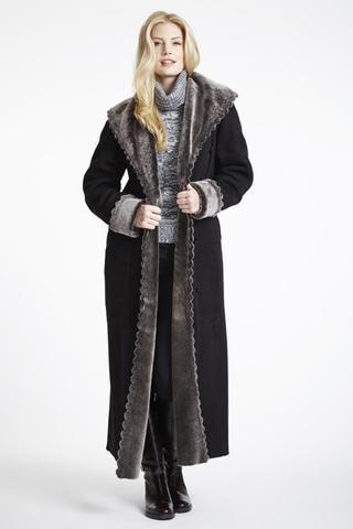 Scallop Trim Shearling Coat   Shop Women's Shearling Coats + Jackets